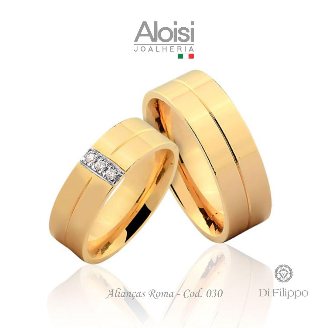 Aliança Casamento Ouro Amarelo 18k - Roma - Di Filippo