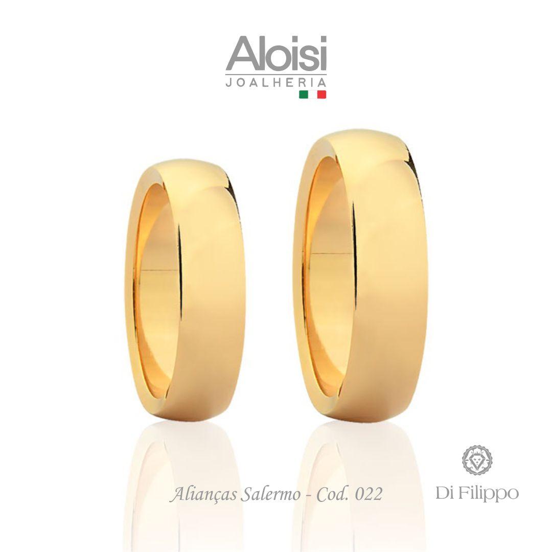 Par De Alianças De Casamento Salerno Em Ouro Amarelo 18k