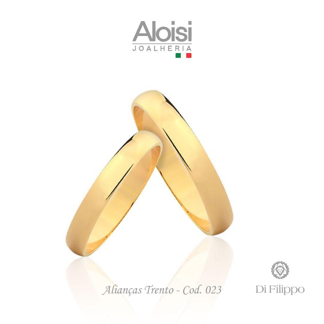 Par De Alianças De Casamento Trento Em Ouro Amarelo 18k