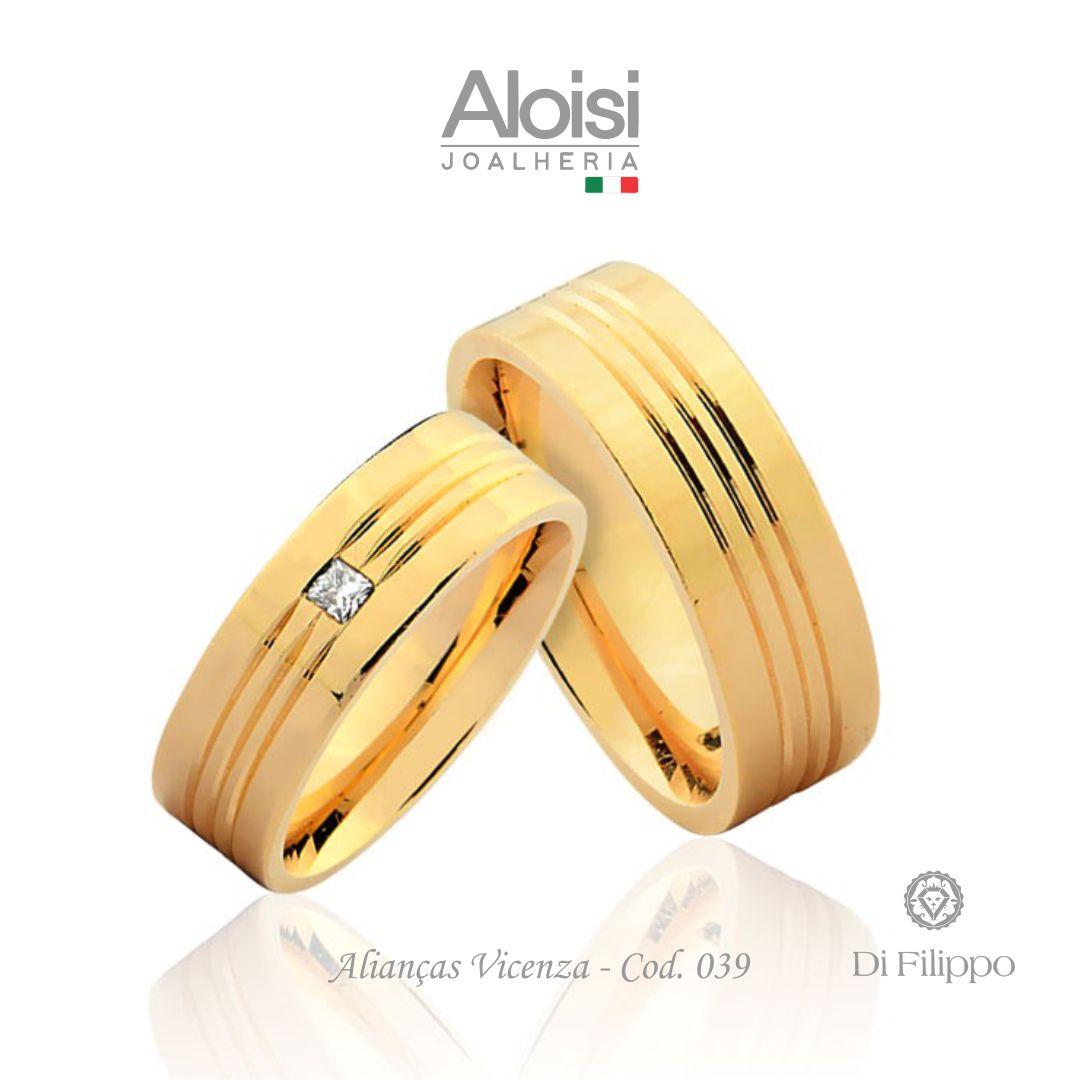 Par De Alianças De Casamento Vicenza Em Ouro Amarelo 18k