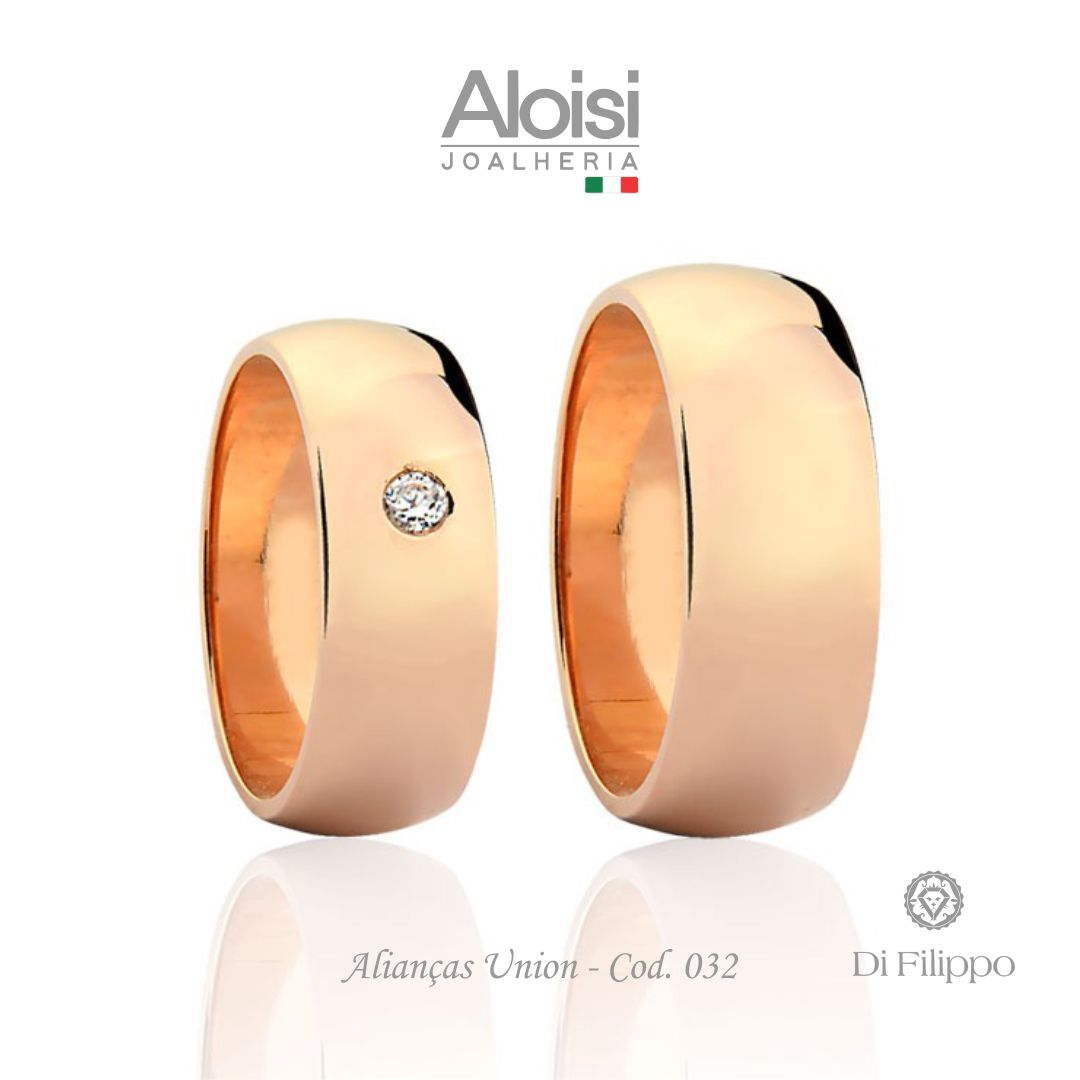 Par De Alianças Casamento Ouro Rosé 18k - Union - Di Filippo