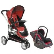 Carrinho De Bebê 3 Rodas Compass Ii Vermelho + Bebê Conforto Casulo Click - Kiddo