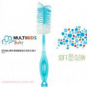 Escova Limpa Mamadeira e Bicos 2 em 1 Azul - Multikids Baby