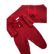 saída de maternidade vermelha luxo tricot