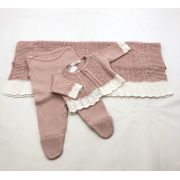 Saída maternidade feminina linha rosa seco