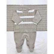 Saida maternidade tricot bege acinzentado luxo