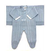 saída maternidade luxo azul tricot menino
