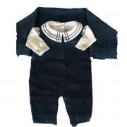 Saída maternidade para menino tricot luxo 3 peças marinho