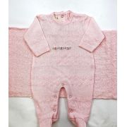 Saida maternidade rosa bebe bordada