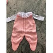 Saída maternidade para menina rosa luxo tricot 3 peças