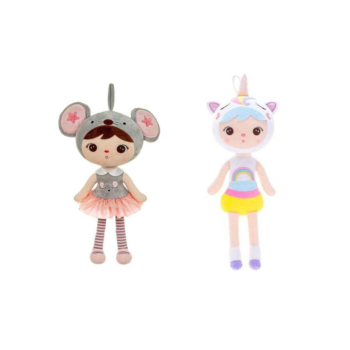 Kit boneca metoo Jimbão 2 bonecas ratinha+unicórnio 42cm