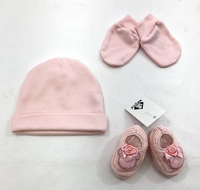 kit recém nascido touca luva e sapatinho rosa 100% algodão egípcio