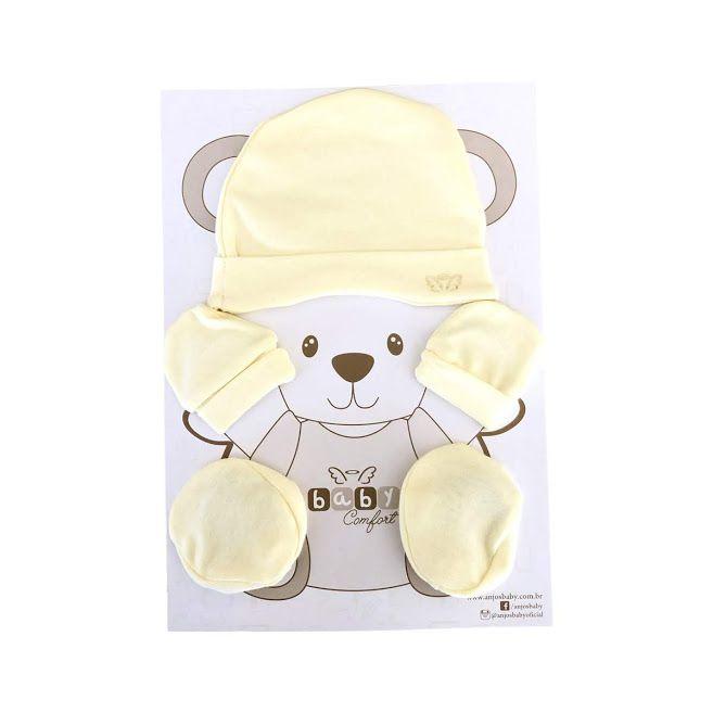 kit para recém nascido touca+luva+sapatinho em suedine várias cores