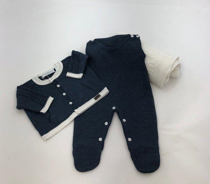 saída maternidade azul luxo  tricot