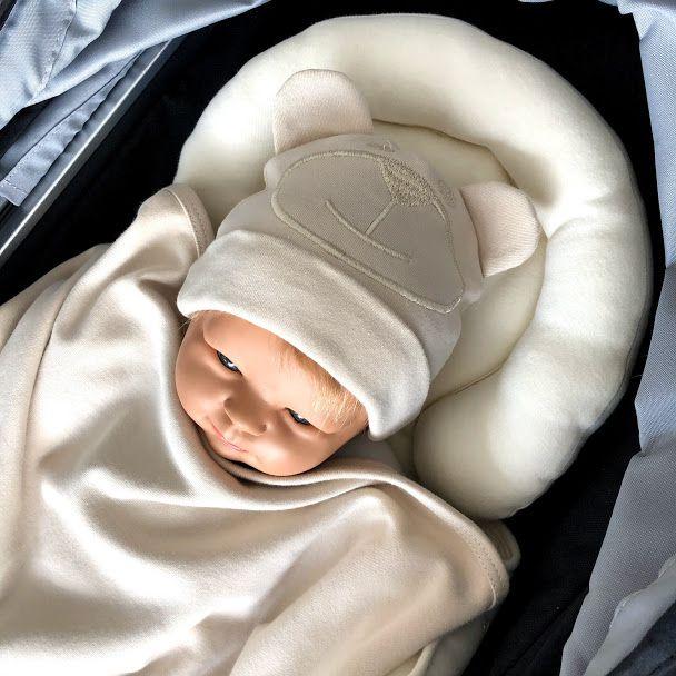 Touca bebe malha bordada