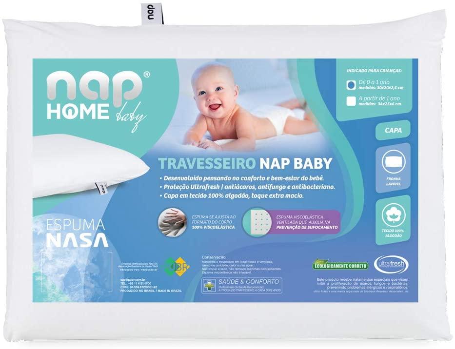 Travesseiro Nasa Nap Baby Rn Branco Viscoelástico 30x20x2,5