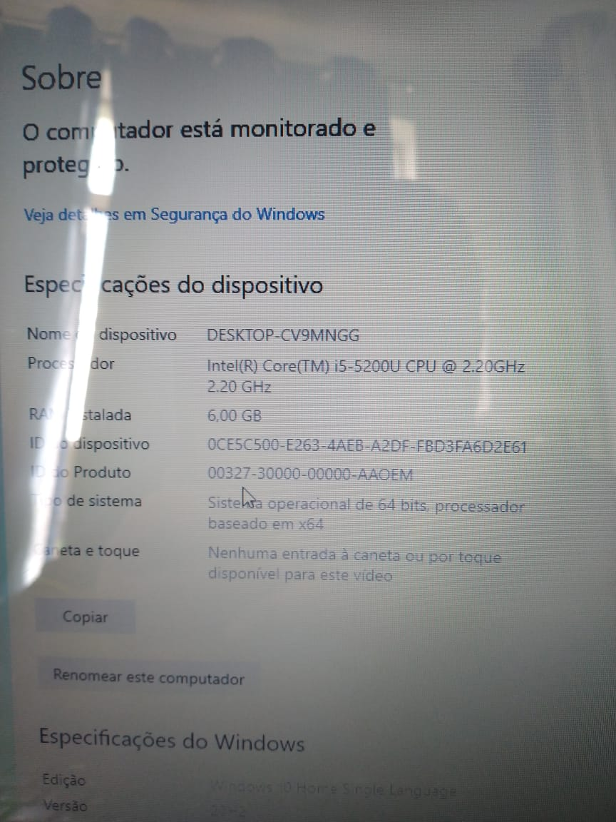 Notebook Acer I5/6GB/120SSD