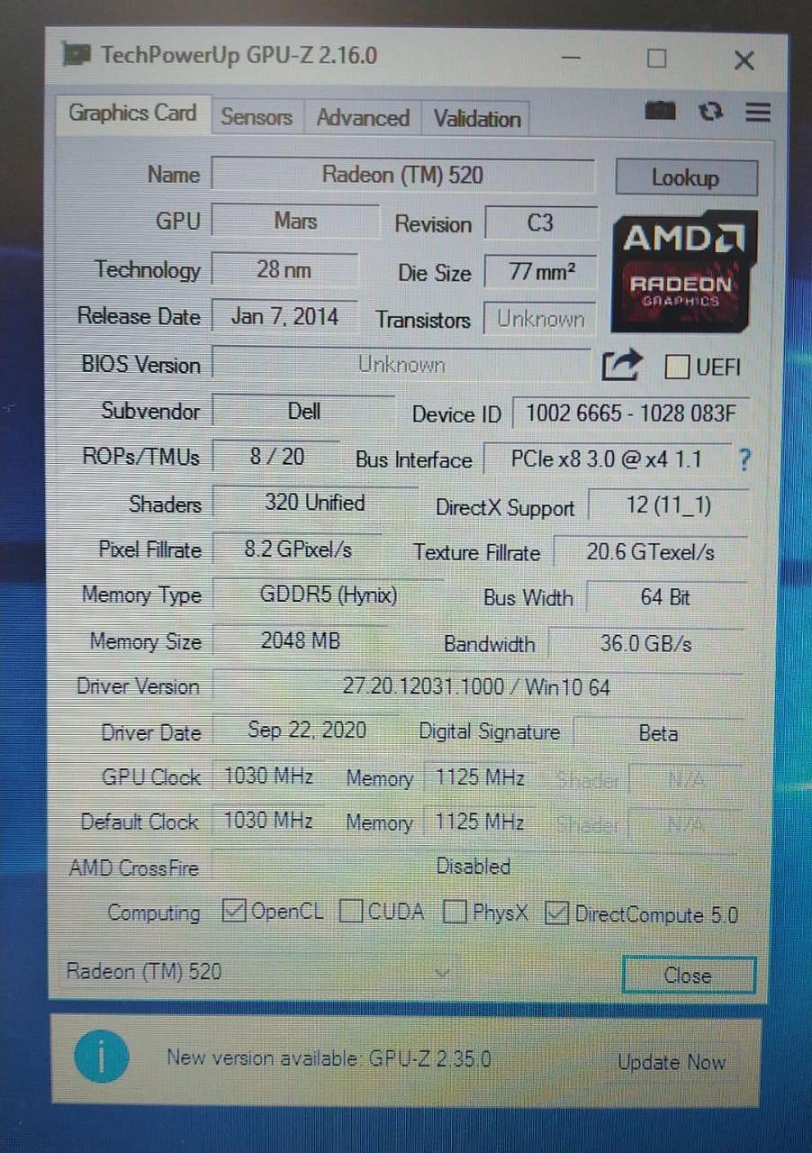 Notebook Dell i7/8GB/SSD120GB