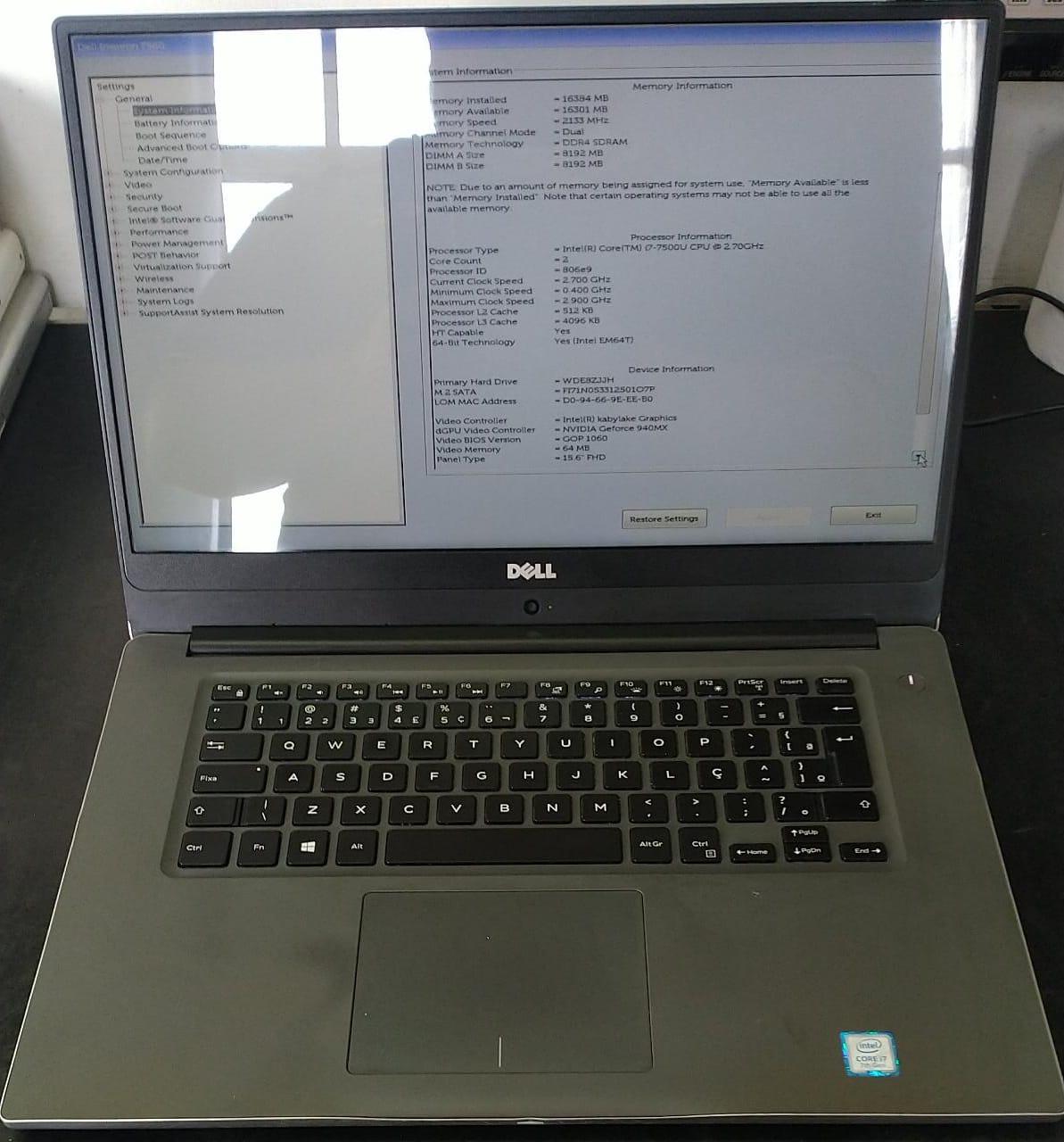 Notebook Dell Inspiron 15 7560 I7/16GB/128GB/1TB/940MX