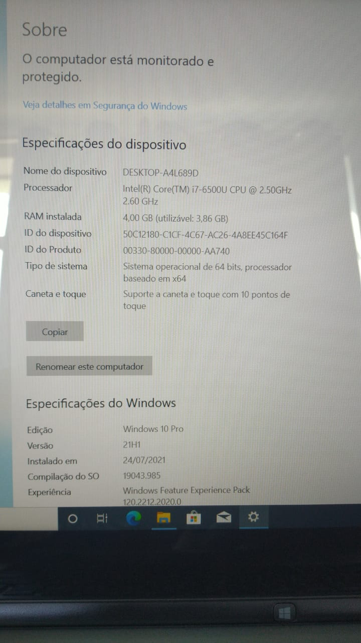 Notebook dell Inspiron 7568 i7/8GB/120SSD