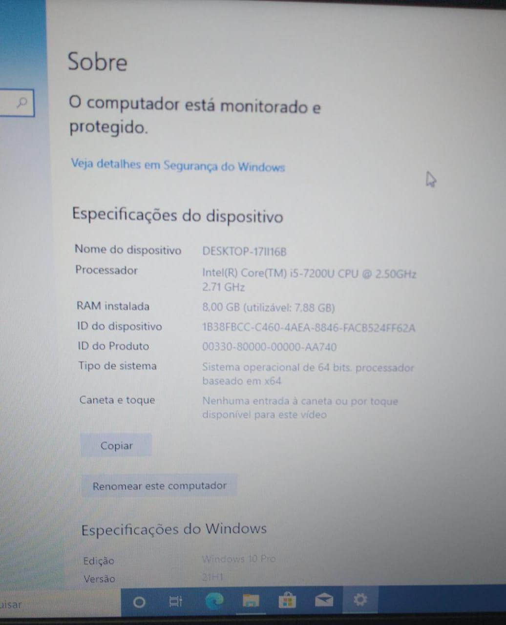 Notebook Dell Latitude 3490 i5/8GB/120SSD