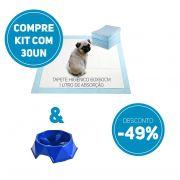 Compre 2 Itens: Tapete Higiênico kit 30 un Tam 60 x 60cm Absorção 1 litro + 1 Comedouro Lento com 49% de desconto