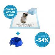 Compre 2 Itens: Tapete Higiênico kit 30 un Tam 60 x 60cm Absorção 1 litro + 1 Comedouro Lento com 54% de desconto
