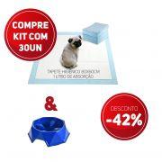 Compre 2 Itens - Tapete Higiênico kit 30 un Tam 80 x 60cm Absorção 1 litro + 1 Comedouro Lento com 42% de desconto