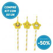 Compre AGORA kit 60 unidades de Canudo de Papel Biodegradavel Personalizados com Estrelas  e ganhe 50% de desconto