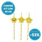 Compre AGORA kit 90 unidades de Canudo de Papel Biodegradavel Personalizados com Estrelas e ganhe 53% de desconto