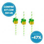 Compre JÁ kit 100 unidades Canudo de Papel Biodegradavel  com Abacaxi Sanfonado e ganhe 47% de desconto