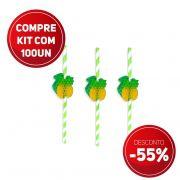 Compre JÁ kit 100 unidades Canudo de Papel Biodegradavel  com Abacaxi Sanfonado e ganhe 55% de desconto