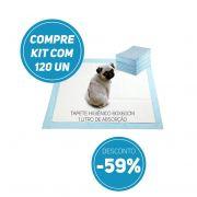 Compre Kit 120 un de Tapete Higiênico Tam 60 x 60cm Absorção 1 litro com 59% de desconto