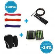 Compre Kit Super Band + Corda Profissional de Aluminio + 1 Par de Munhequeira + 1 Par de Joelheira com 34% de desconto