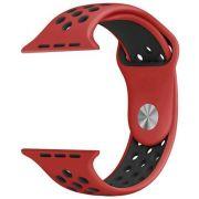Pulseira Sport Silicone Nk Furo Para Apple Watch 1 2 3 4- 42/44mm - Vermelho e Preto