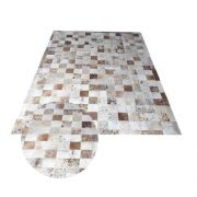 Tapete de Couro de Boi 2,0m X 1,5m Natural Costurado 7cm x 7cm Com Borda - AM05