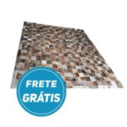 Tapete de Couro de Boi 2,5m X 2m Natural Costurado 10cm x 10cm Com Borda - CN710