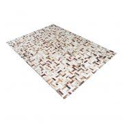 Tapete de Couro de Boi 2m X 1,5m Natural Costurado 3cm x 9cm Com Borda - OF34