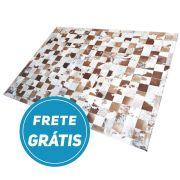 Tapete de Couro de Boi 2m X 1,5m Natural Costurado Placas 10cm x 10cm Com Borda - CN805