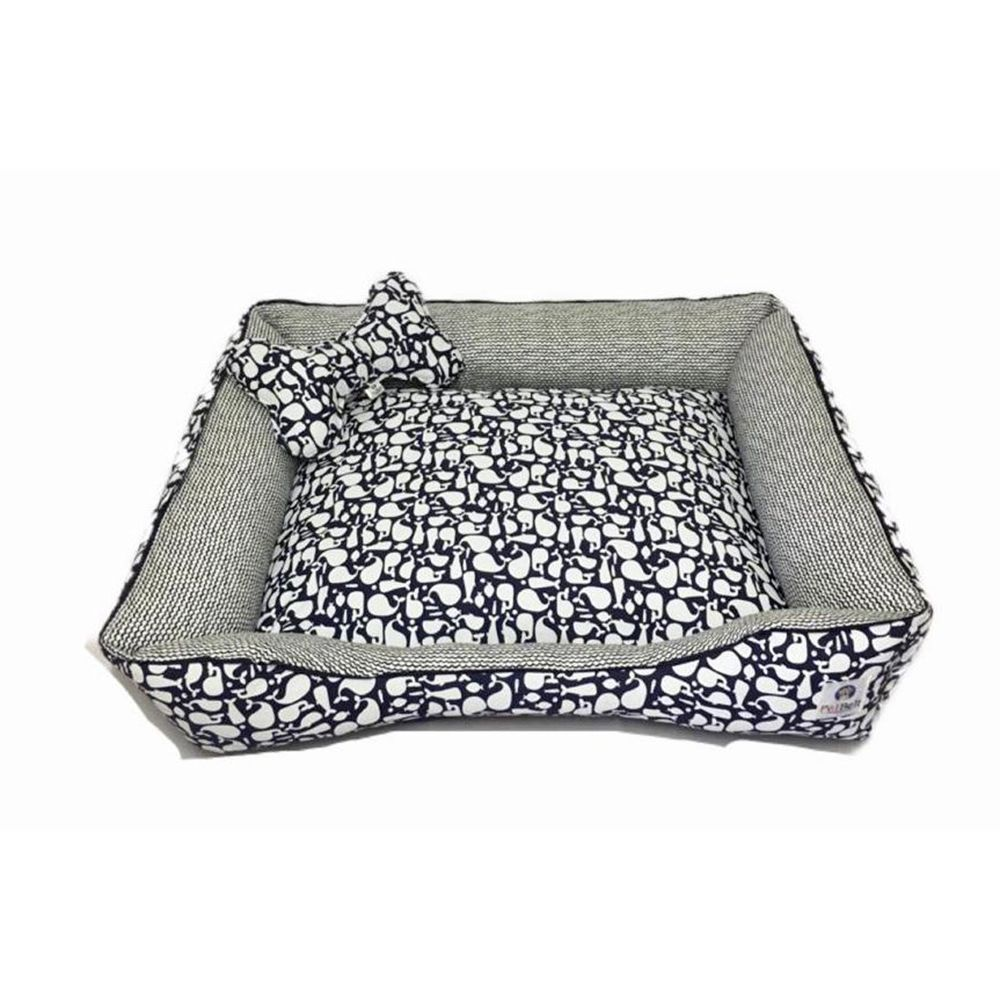 Cama Cachorro Gato c/ zíper - Tam G - 100% algodão Baleias Blue