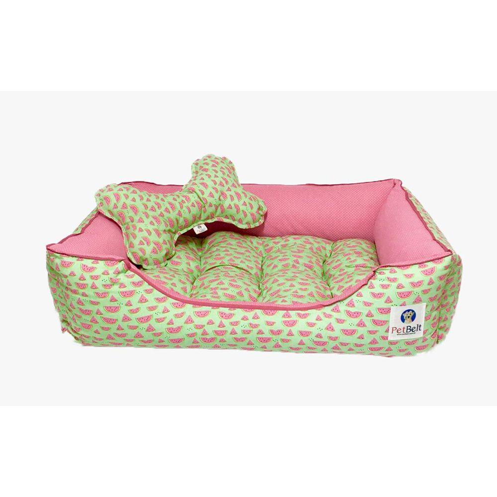 Cama Pet 100% algodão Cachorro Gato almofada removível c/ zíper - Tam P - Melancia