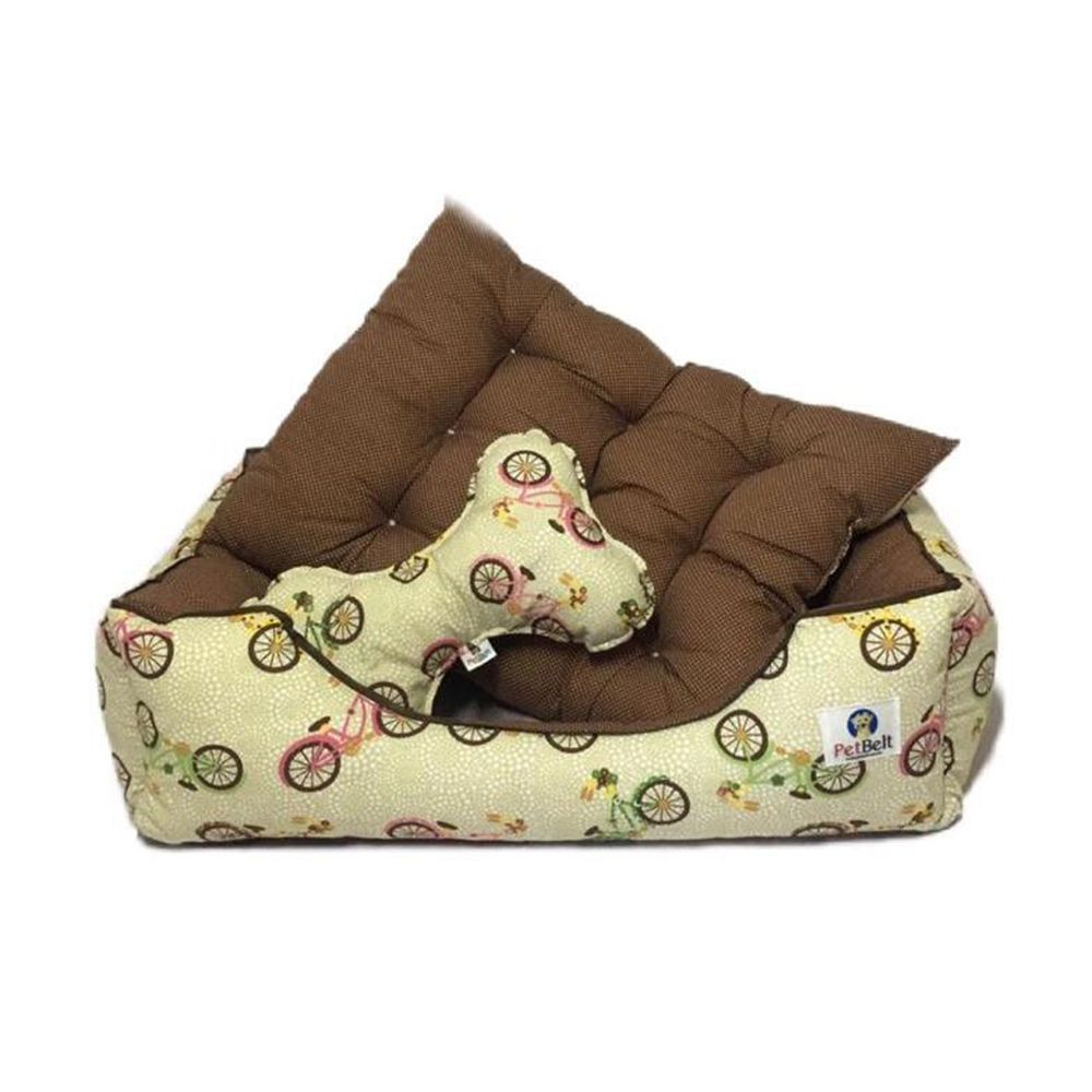 Cama Pet 100% algodão Cachorro Gato almofada removível - Tam P - Bicicletas