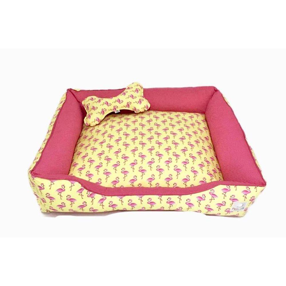 Cama Pet 100% algodão Cachorro Gato  c/ zíper - Tam G - Flamingo's