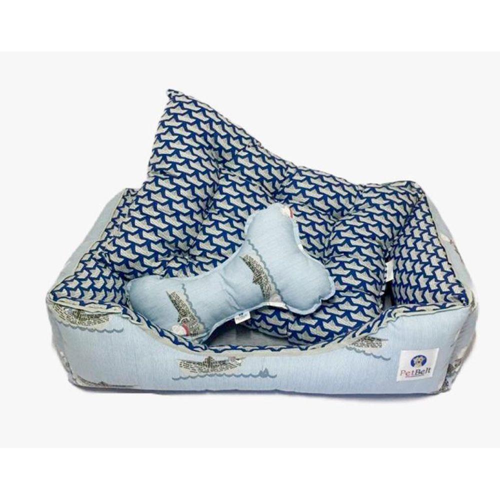 Cama Pet 100% algodão Cachorro Gato  c/ zíper - Tam P - Barquinhos de Papel