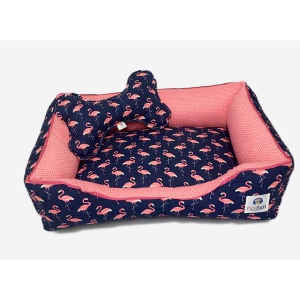 Cama Pet 100% algodão Cachorro Gato  c/ zíper - Tam P - Blue Flamingo