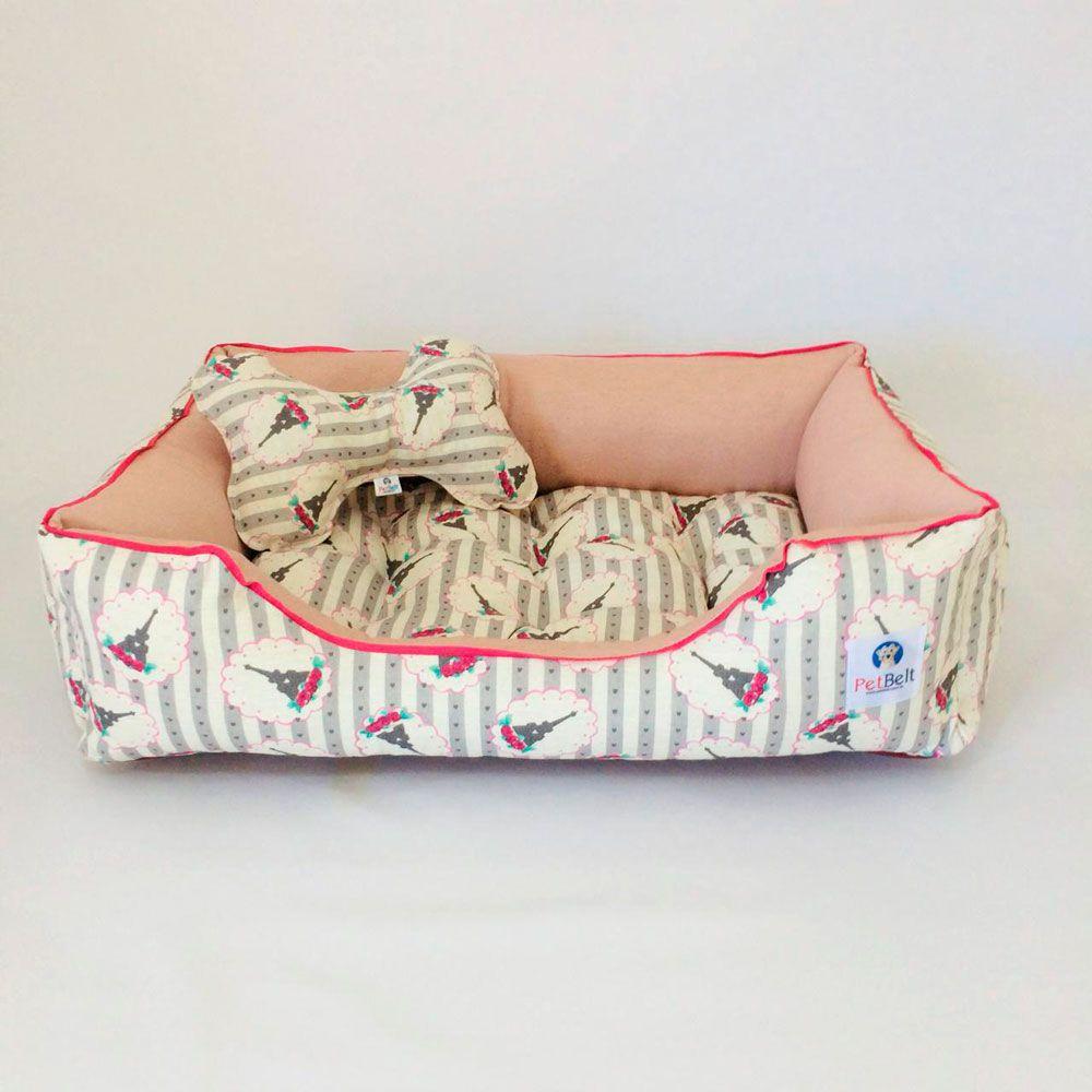 Cama Pet de Linho Cachorro Gato almofada removível c/ zíper - Tam M - Paris