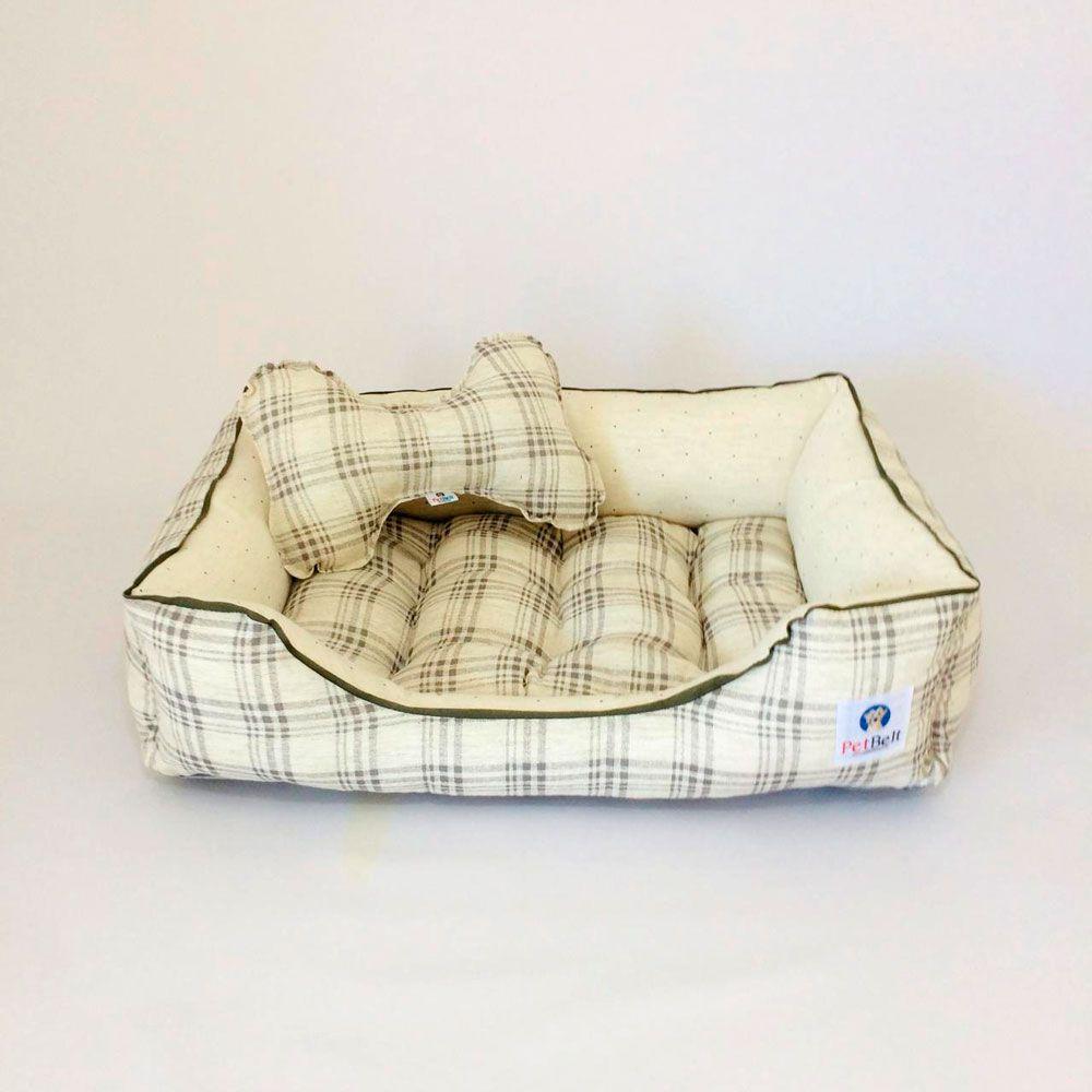 Cama Pet de Linho Cachorro Gato almofada removível c/ zíper - Tam M - Xadrez