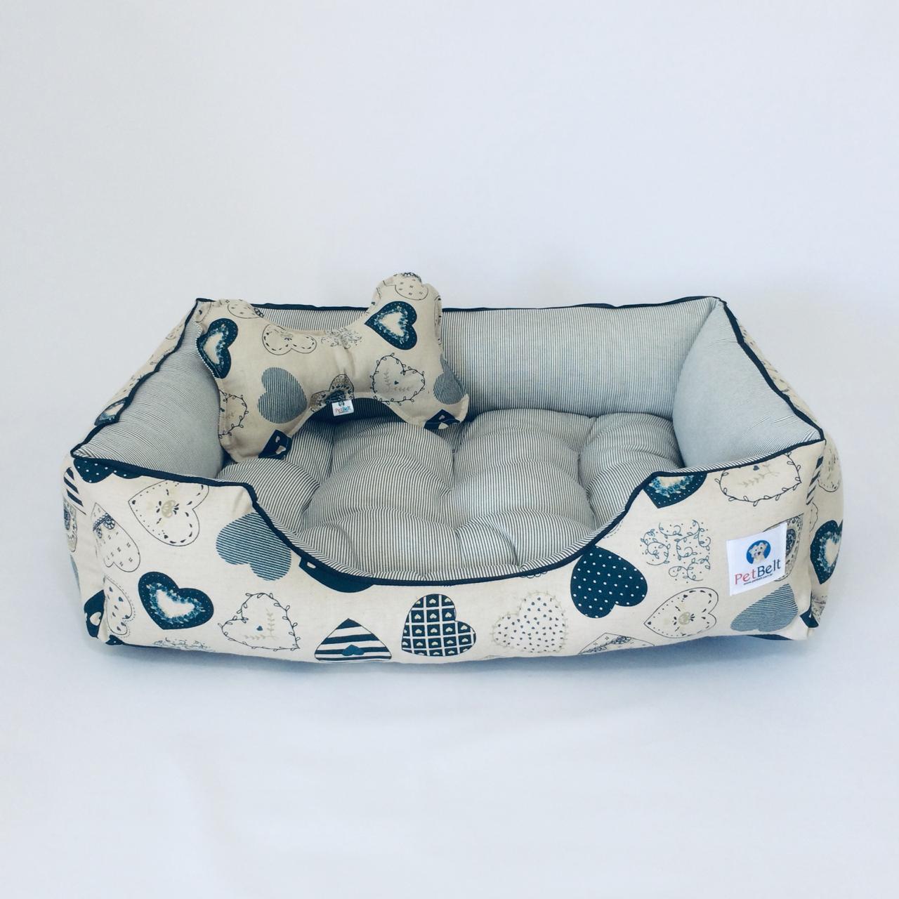 Cama Pet de Linho Cachorro Gato almofada removível c/ zíper - Tam P - Coração Blue