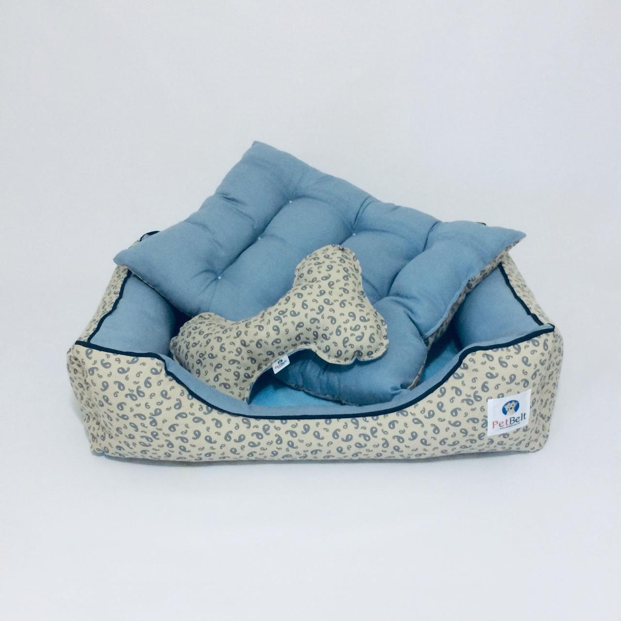 Cama Pet de Linho Cachorro Gato almofada removível c/ zíper - Tam P - Arabesco