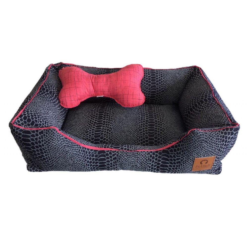 Camas Premium Jeans Pet Com Almofada em Osso Rosa Cachorro Gato Tam G